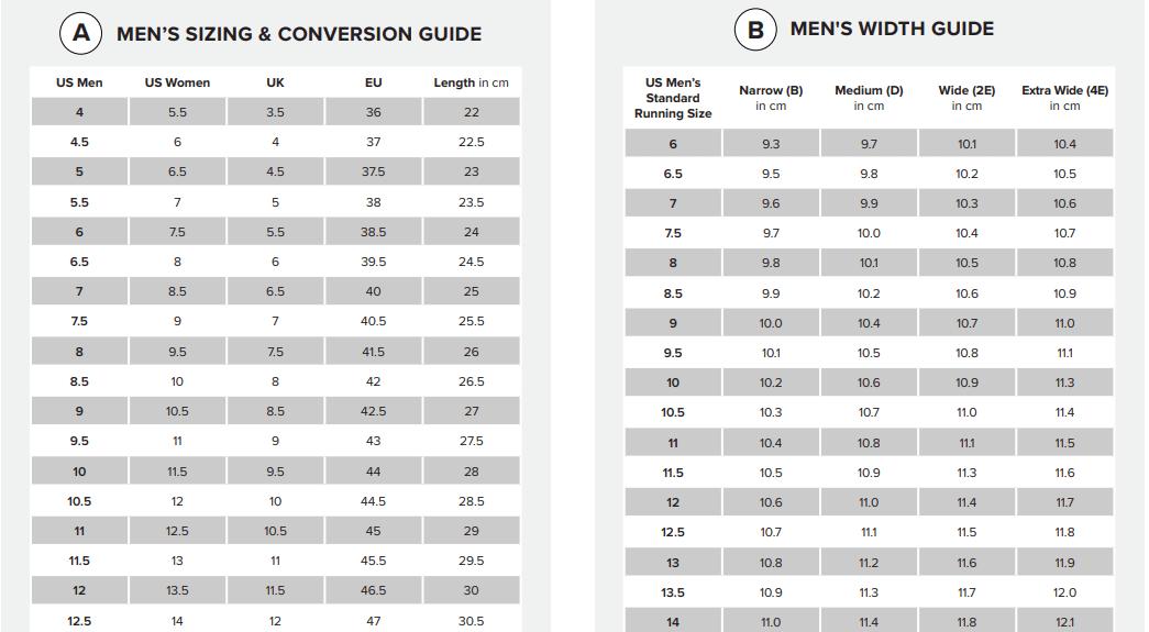 New Balance Shoe Size Chart for Men