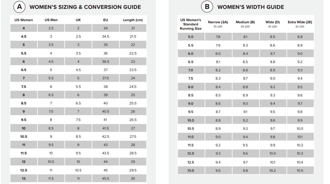 New Balance Shoe Size Chart for Women
